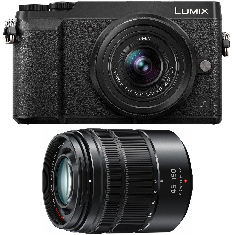 Panasonic DMC-GX85WK LUMIX 4K Mirrorless Camera with 12-32mm & 45-150mm Lenses, 3'', Black