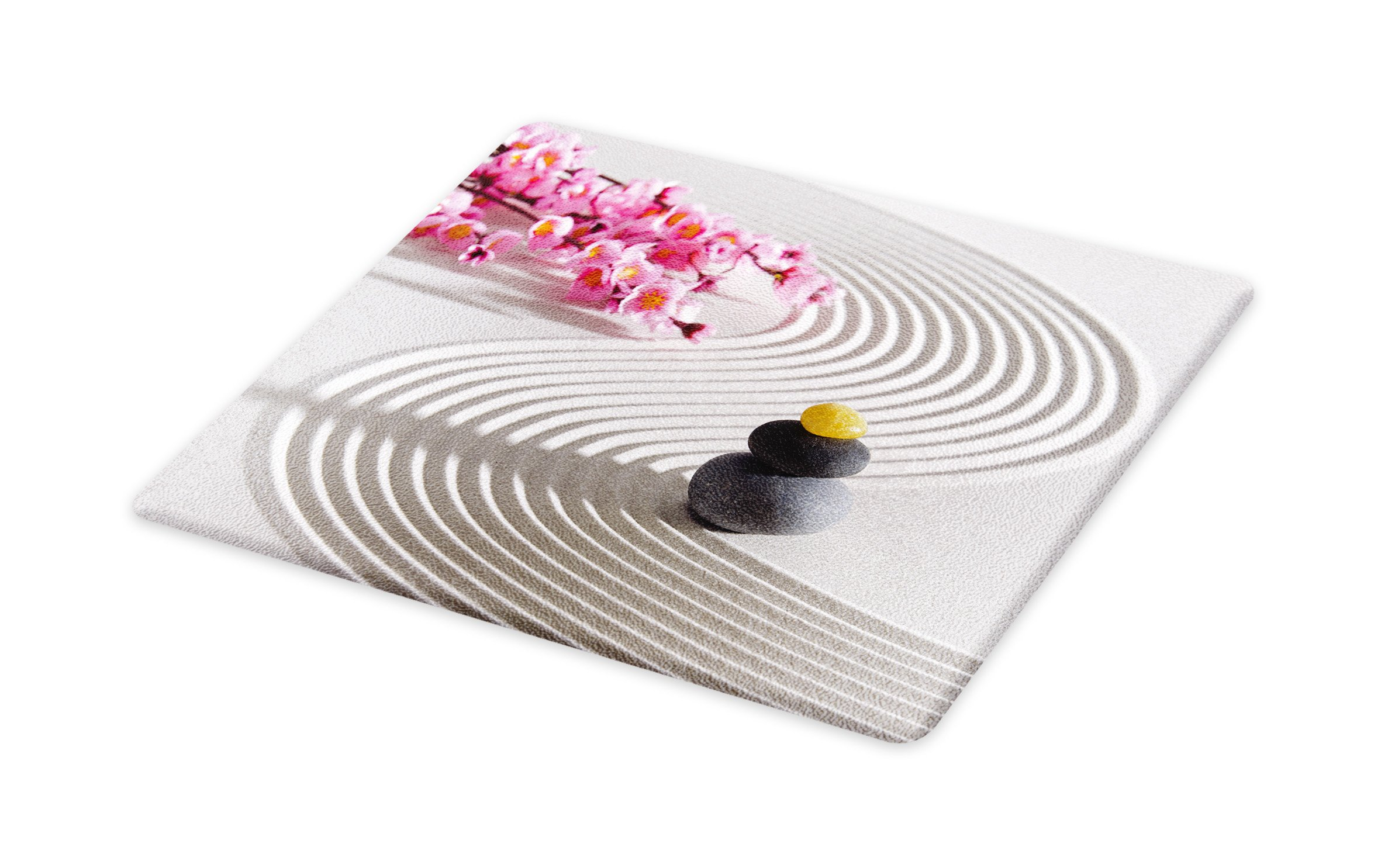 Lunarable Spa Cutting Board, Japanese Zen Stones of Meditation Sand with Orchids Relax Yoga Spirit Picture, Decorative Tempered Glass Cutting and Serving Board, Small Size, Pearl Pink Dimgrey