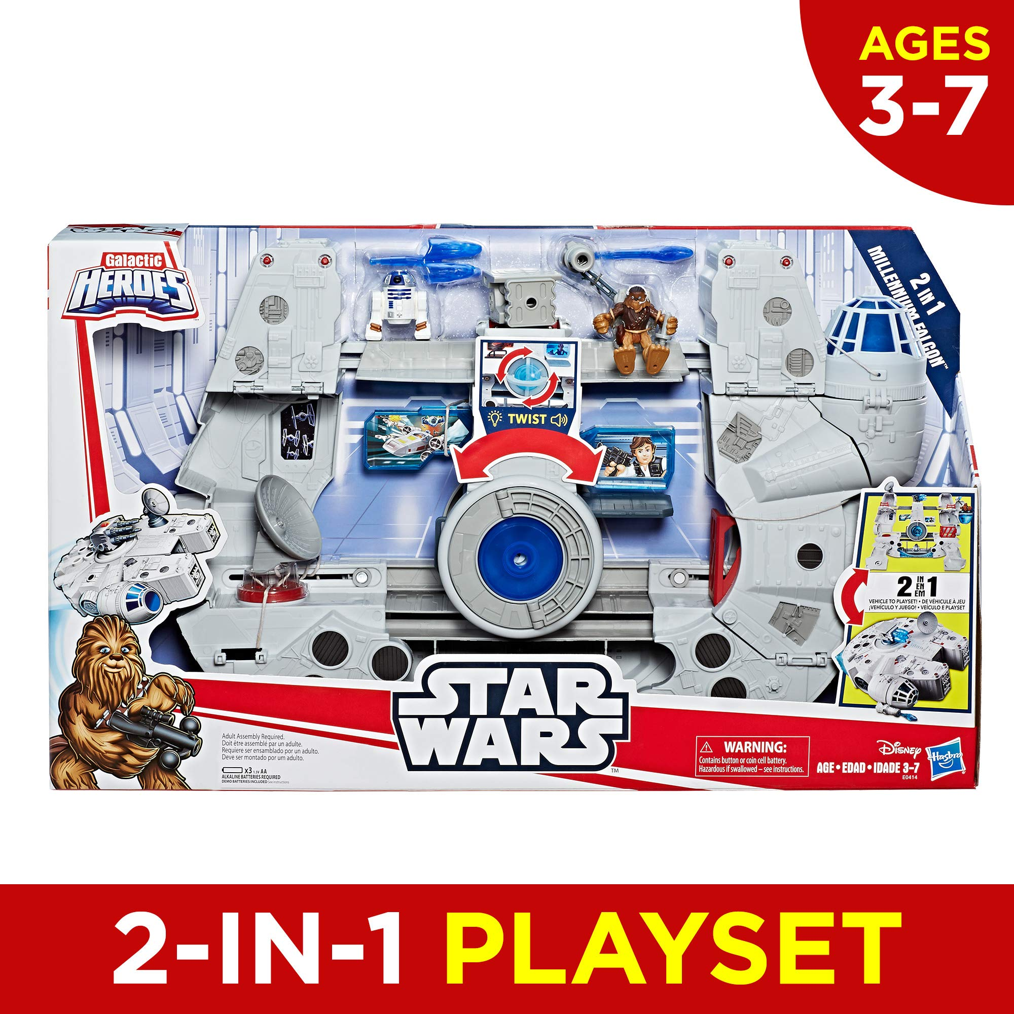 Star Wars Galactic Heroes 2-In-1 Millennium Falcon Vehicle Playset, Chewbacca, R2-D2 2.5-Inch Action Figures, Lights and Sounds, Toys for Kids Ages 3 and Up by Playskool (Image #2)