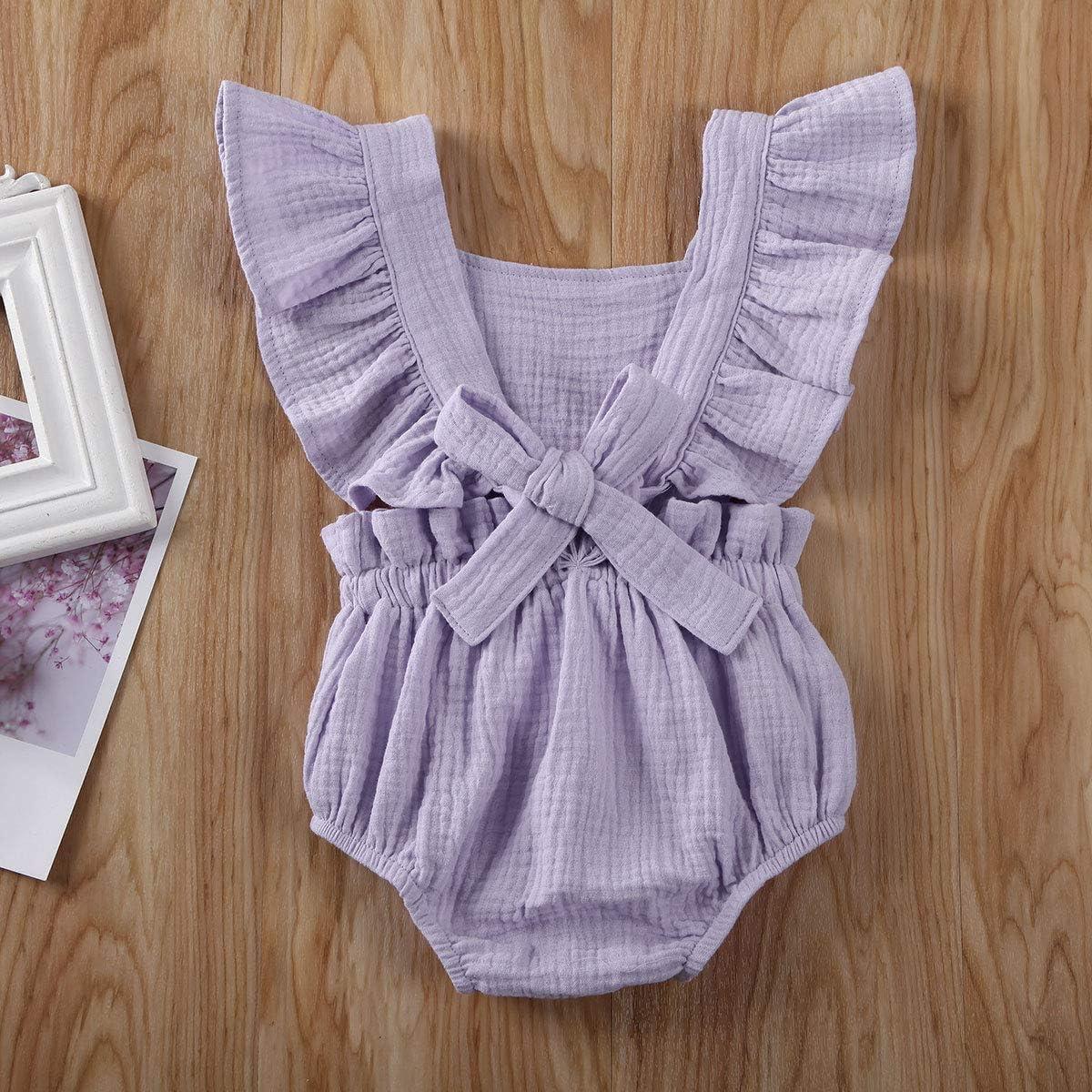 Carolilly Jumpsuit B/éb/é Fille Et/é sans Manches Chic /à Volant en Coton V/êtement Infantile 0-24 Mois