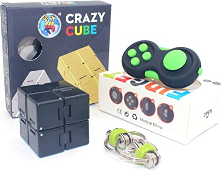 LOVEYIKOAI 3 Packs Fidget Finger Toys Infinity Cube Fidget Cube Magic Ball for Stress and Anxiety Relief ADHD Office Desk Toys Perfect Toys for Adults