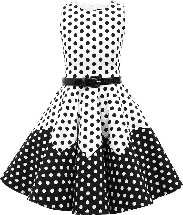 Kids 1950s Clothing & Costumes: Girls, Boys, Toddlers BlackButterfly Kids Amy Vintage Polka Dot 50s Girls Dress  AT vintagedancer.com
