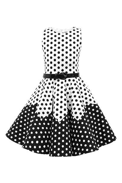 BlackButterfly Niñas Amy Vestido de Lunares Vintage Años 50 (Blanco - Negro,