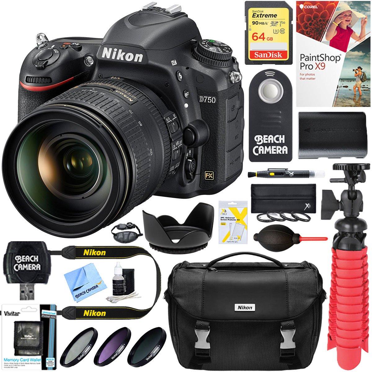Nikon D750 24.3MP Digital SLR Camera + AF-S 24-120mm ED VR Lens & 64GB Memory Accessory Bundle