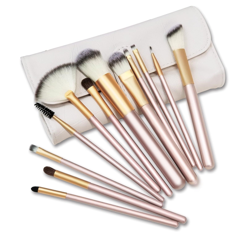 Makeup Brush Sets, BKSTONE 12 Pcs Professional Makeup Brushes High Quality Synthetic Fiber Foundation Brush Powder Brush Large Fan Brush Eyeshadow Brush