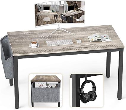 Ellenge Scrivania Per Computer Da 117 4 Cm In Stile Moderno Per Pc Laptop Studio Postazione Di Lavoro Tavolo Da Gioco Per Casa Ufficio Con Custodia E Gancio Telaio In Metallo Nero