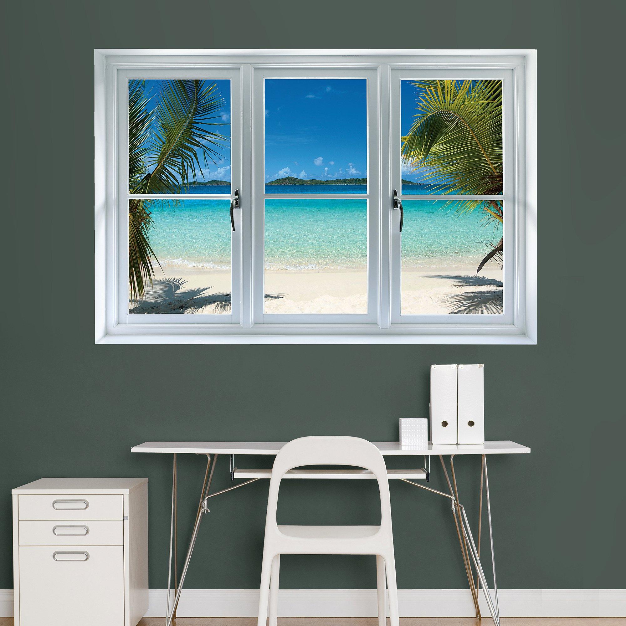 Fathead Wall Decal, ''Virgin Islands Beach Scenic Window''
