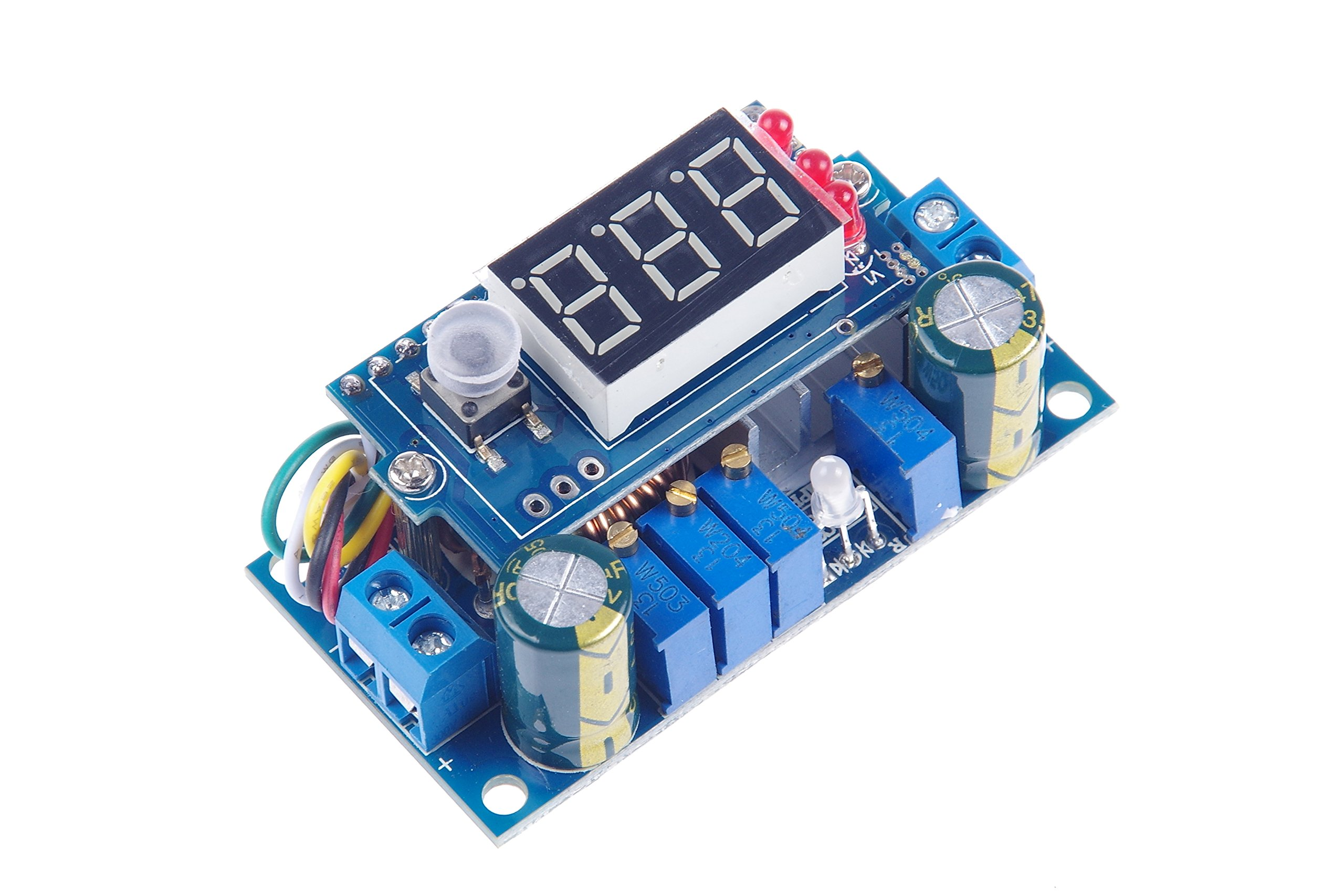 KNACRO DC Voltage Regulator Buck Converter 6-36V to 1.25-32V 5A Constant Current Voltage MPPT Solar Controller with LED Voltmeter Ammeter Power Display for Charging Battery Car Power