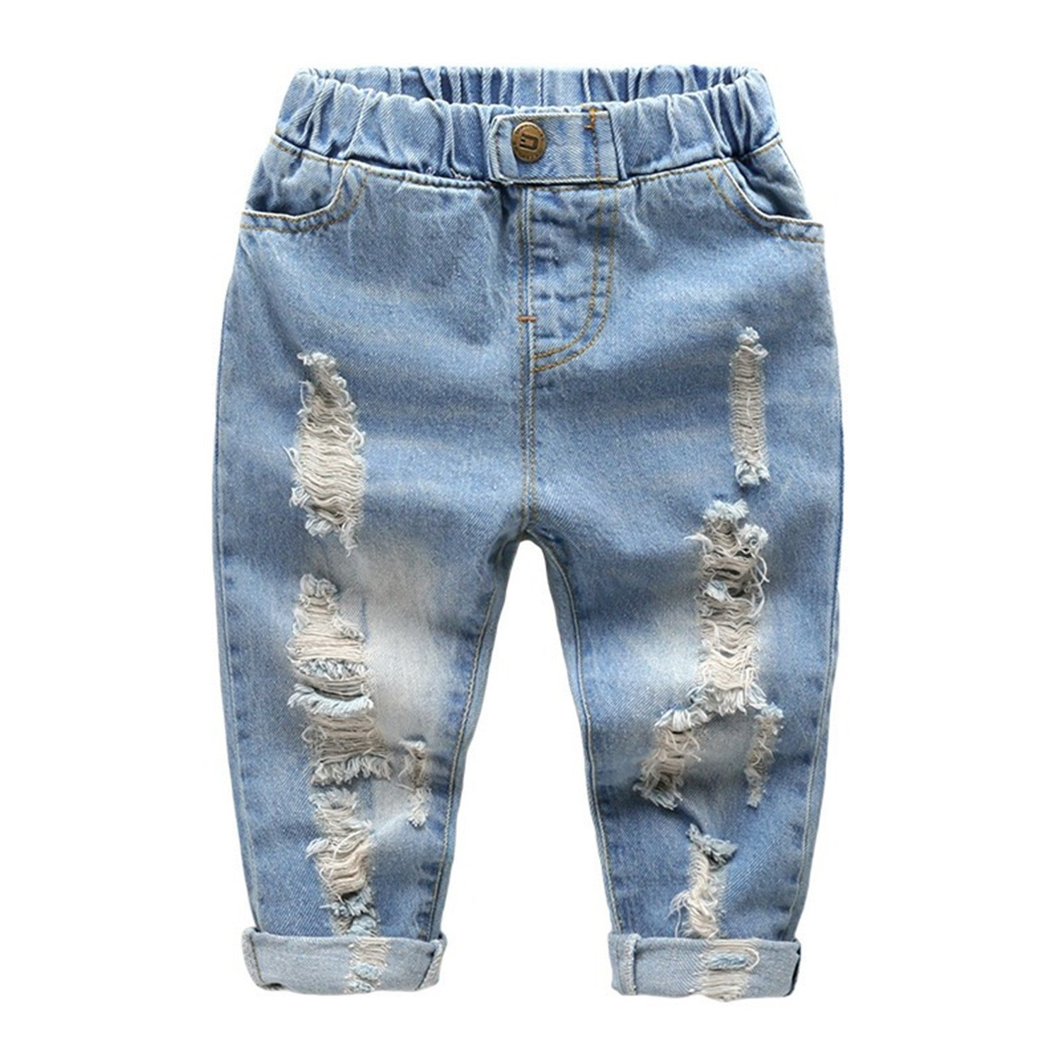 Little Baby Boys Girl Ripped Western Jeans Kids Girls Friend Style Denim Pants