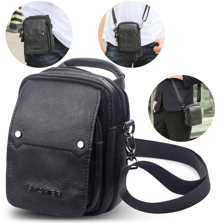Men Genuine Leather Waist Pack Bag Cross Body Bag Messenger Shoulder Bag Top-Handle Bag Handbag Tactical Mobile Phone Purse Wallet Belt Pouch Holster Case Travel Bag Black