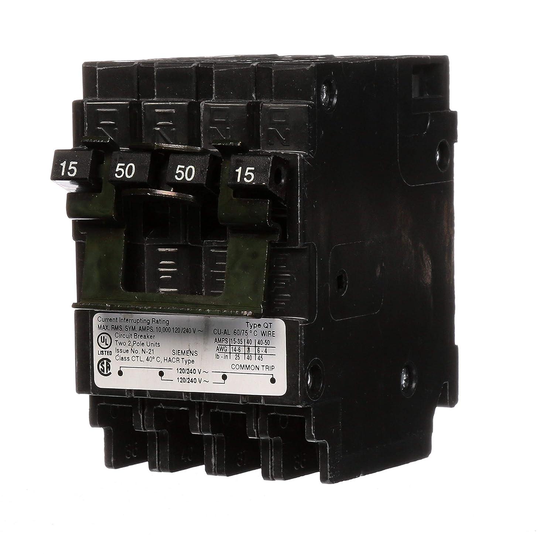 Siemens Q21550CT2 15-Amp Double Pole/50-Amp Double Pole 10-Kaic Circuit Breaker Siemens -HI