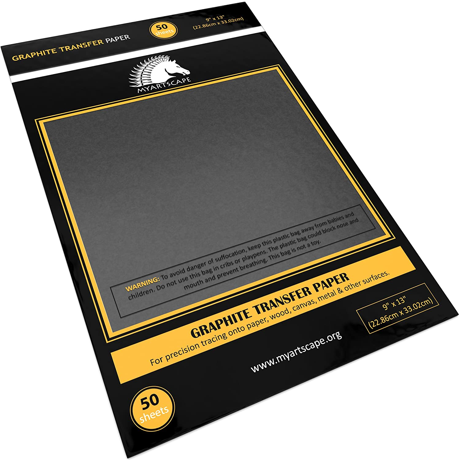 Graphite Transfer Paper - 9 x 13 - 50 Sheets - Waxed Carbon Paper for Tracing - MyArtscape (Black)