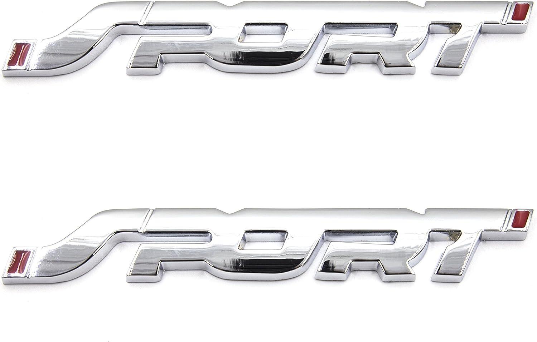Glossy Red LIGHTKOREA 2Pcs 3D SPORT Metal Point Emblem Side Fender Trunk Emblem Vehicle Car Motorcycle Badge Decals
