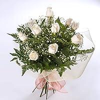 REGALAUNAFLOR-Ramo de 12 rosas blancas naturales-FLORES FRESCAS-ENTREGA EN 24 HORAS DE MARTES A SABADO.