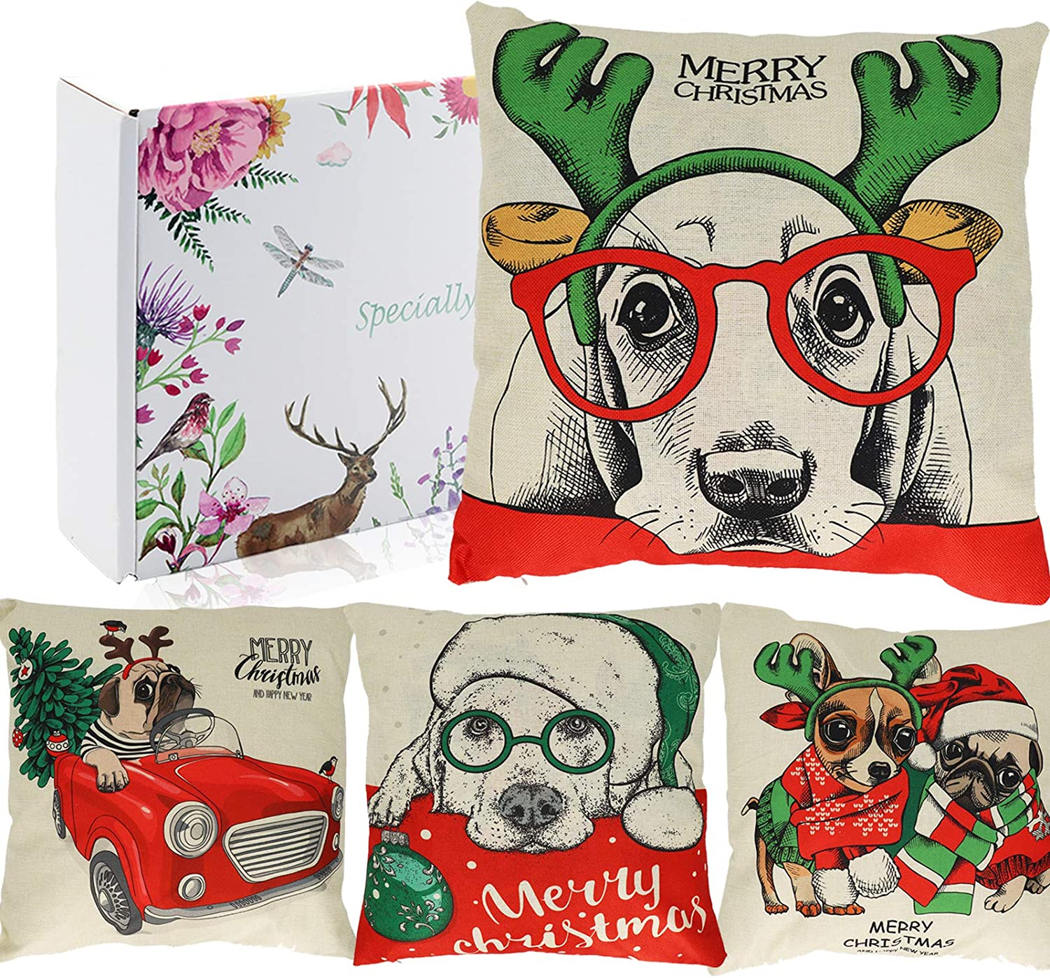 """Christmas Pillow Covers Dogs, 18""""x18"""" Set of 4 - Gift Boxed, Farmhouse Rustic Xmas Decorative Square LinenThrow Pillow Covers Cushion Case for Home Decor, Sofa, Couch, Bedroom, Living Room, Car"""