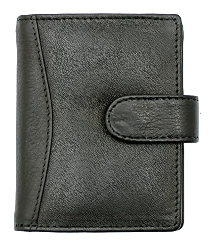 RAS Genuine Soft Leather Credit Card Holder Wallet - 20 Clear Plastic Pockets - 4 Further Card Slots - Popper Button Fastening - 602