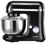 VonShef 1000W Electric Food Stand Mixer with Dough Hook, Beater, Whisk & Splash Guard - Black