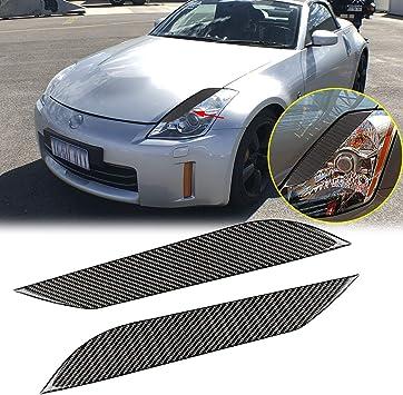 2x Carbon Fiber Eyelids Headlight Eyebrows Fit for Nissan 03-08 350Z Fairlady