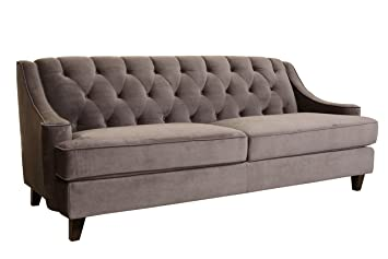 Delicieux Abbyson Emily Velvet Fabric Tufted Sofa, Grey