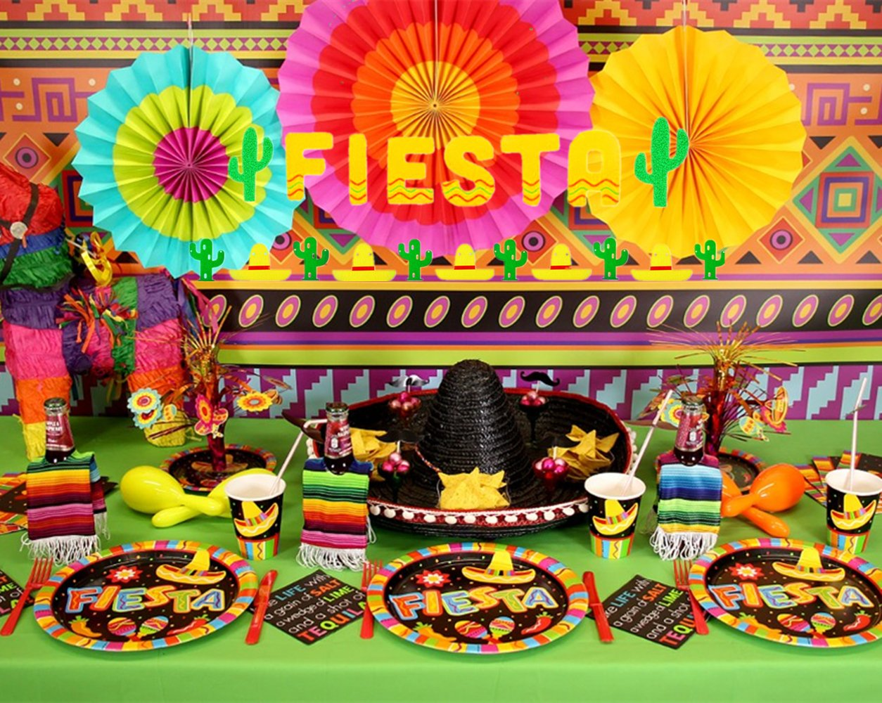 (Set of 3) JeVenis Fiesta Banner Cactus Garlands Cinco De Mayo Banners Rosettes Party Decorations Fiesta Party Supplies Wedding Birthday Baby Shower
