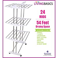 LivingBasics Heavy Duty Rust-free Stainless Steel Foldable Storage Double Pole Cloth Drying Stand/Clothes Dryer Stands/Laundry Racks with Wheels for Indoor/Outdoor/Balcony