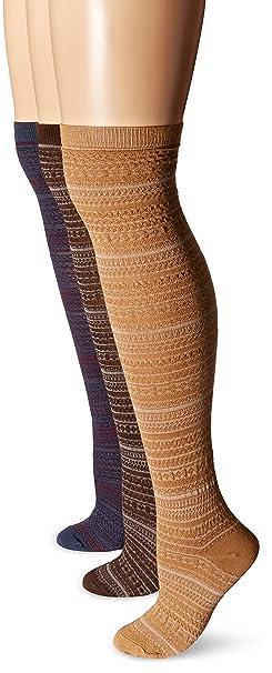 22e549490 Muk Luks Women s Over The Knee Nordic Microfiber Socks 3-Pack