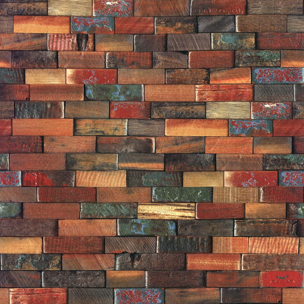 Jz Home Yt41 Wood Brick Wallpaper Roll Red Brown Multi Wooden Blocks Stacked Wallpaper Murals Bedroom Living Room Kitchen Hotels Wall Decoration 20 8in 31ft Amazon Com