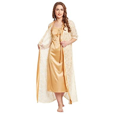 Claura Satin Stylish Nighty With Robe with net work (Large) (Large ... 0684230dc
