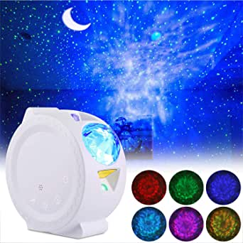 LED Night Light Projector, ALED LIGHT 3 in 1 Star Projector Light Decorative Ceiling Moon and Water Wave Children's Night Light Projector with Sound Activated Night Light for Children, Christmas [Energy Efficiency Class A +]