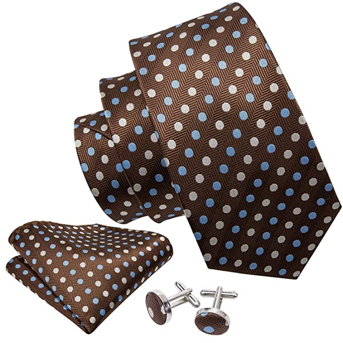 52260b9ec1a44 Amazon.com  Barry.Wang New Classic Brown Polka Dot Tie Set  Clothing