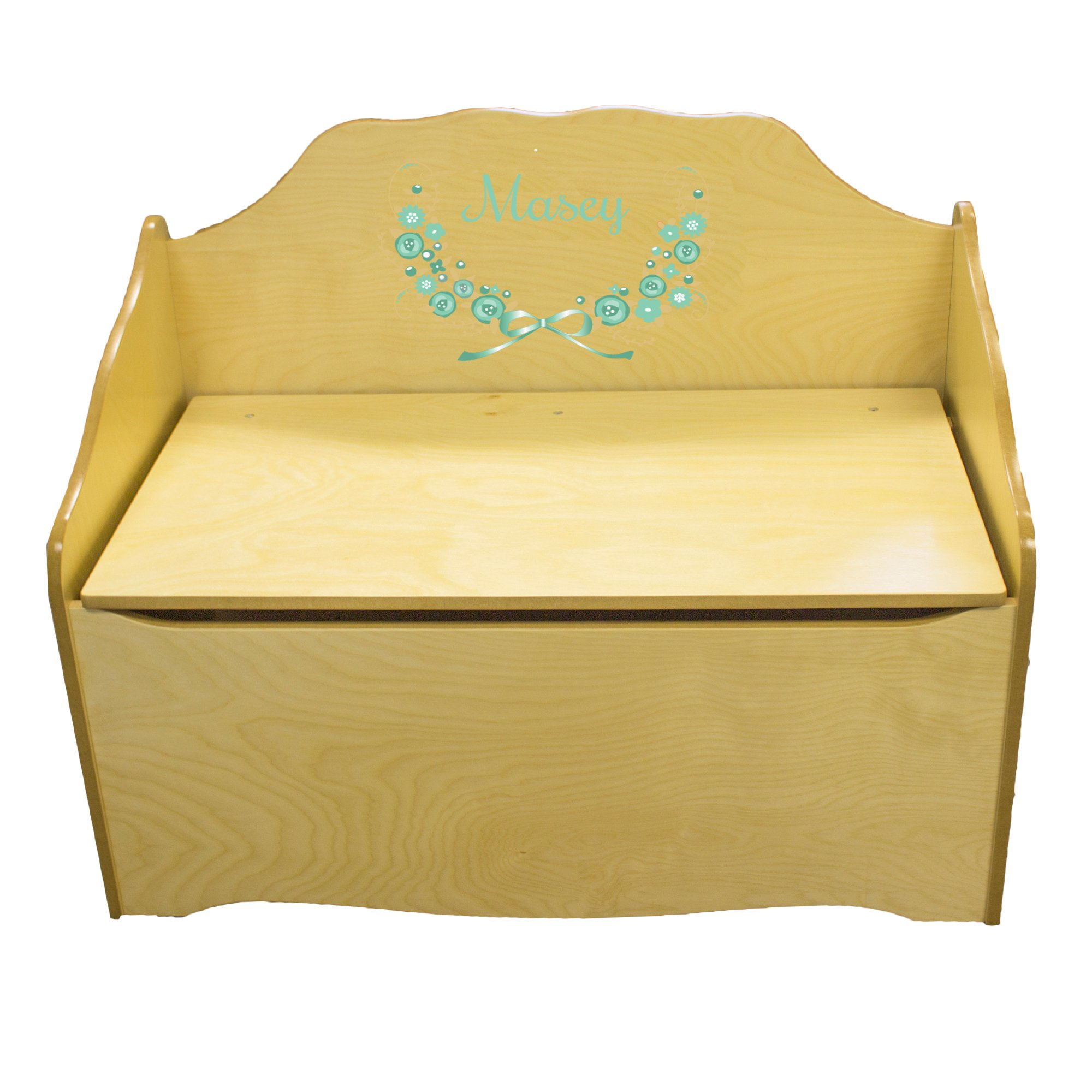 Personalized Gold Floral Garland Childrens Natural Wooden Toy Chest