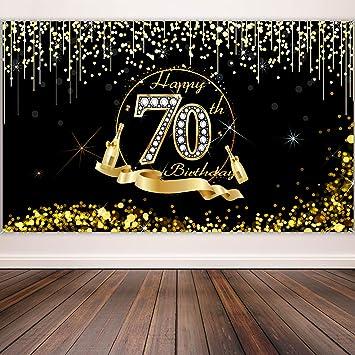 Blulu Decoración de Fiesta de 70 Cumpleaños, Póster de Cartel Dorado Negro Extra Grande, Pancarta de 70 Aniversario Fondo de Foto de Cumpleaños, 72,8 ...