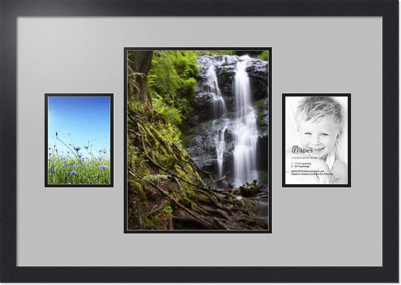 (アートトゥフレームズ)ArtToFrames コラージュフォトフレーム ダブルマット 3窓 サテンブラックフレーム 1 - 11x14 and 2 - 5x7 Double-Multimat-206-88/89-FRBW26079 B00G0439BW 1 - 11x14 and 2 - 5x7|Tv Grey Tv Grey 1 - 11x14 and 2 - 5x7