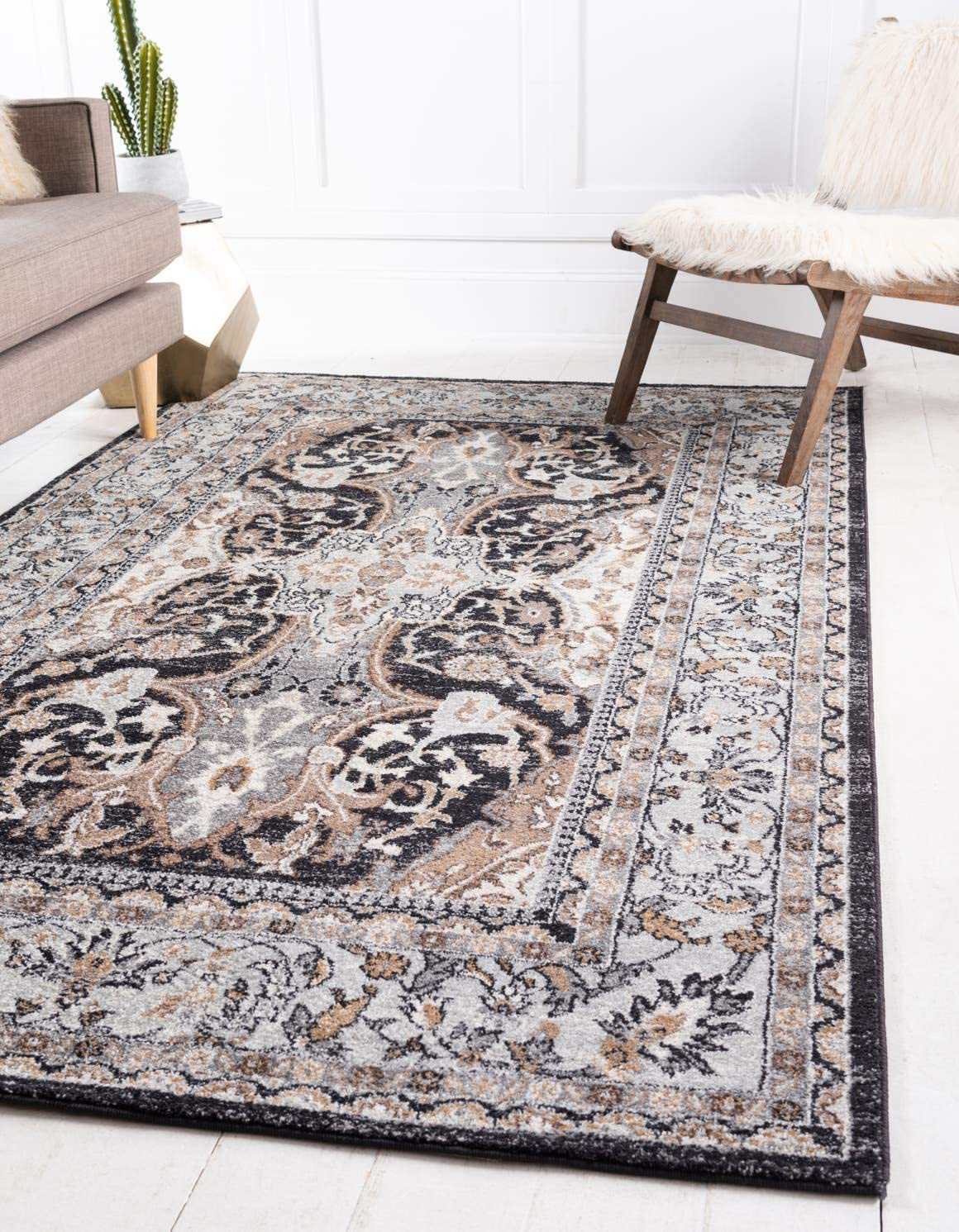 Blue Nile Mills Zohra Indoor Area Rug, Floral Medallion Pattern, Super Soft, Durable, Elegant, Traditional, Oriental, Contemporary Style, Jute Backing, Brown, 8 x 10