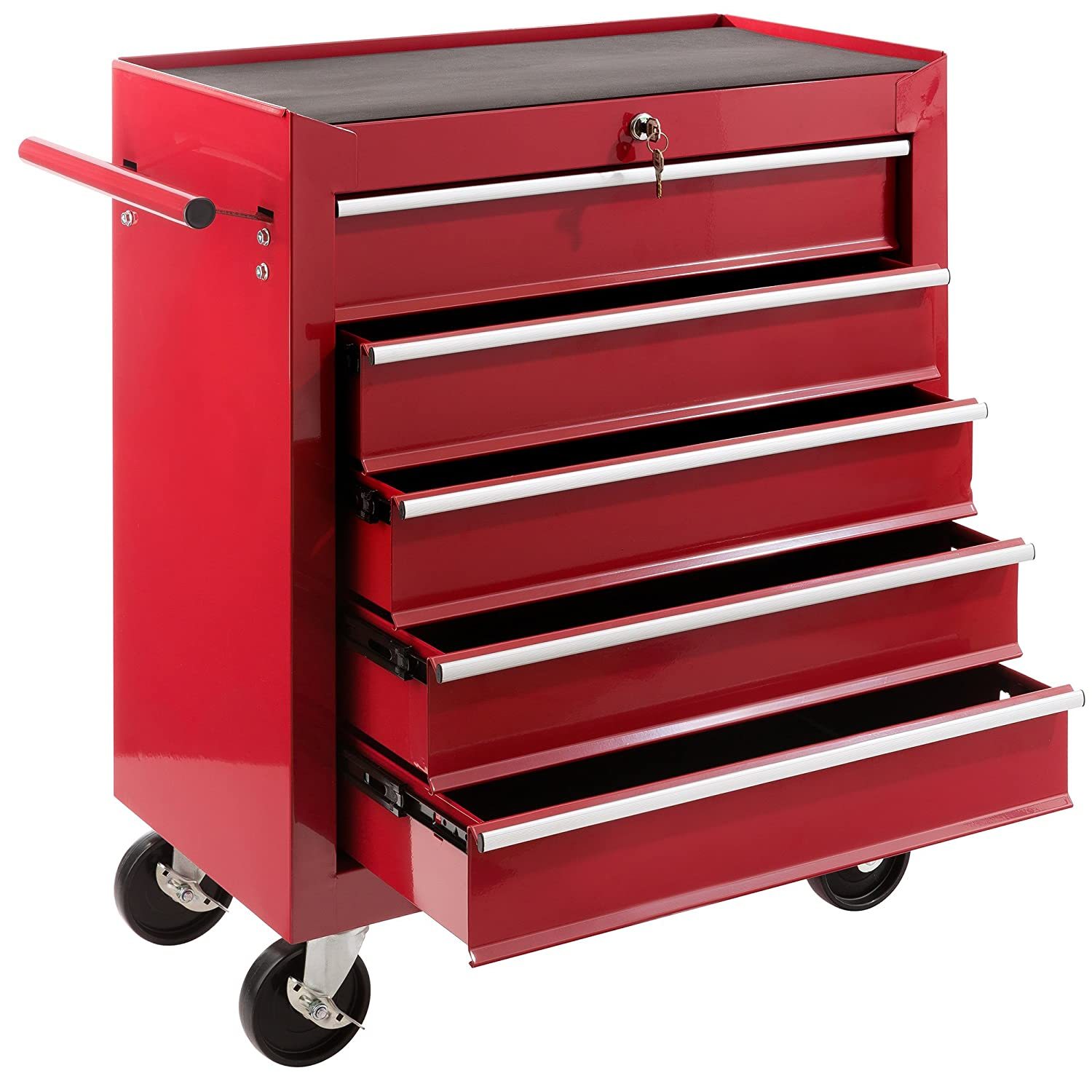 Arebos Tool Trolley with 5 drawers / lockabel / red, blue or black (black) Canbolat Vertriebs GmbH