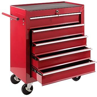 Arebos - Carrito para herramientas con 5 cajones y cierre (rojo)