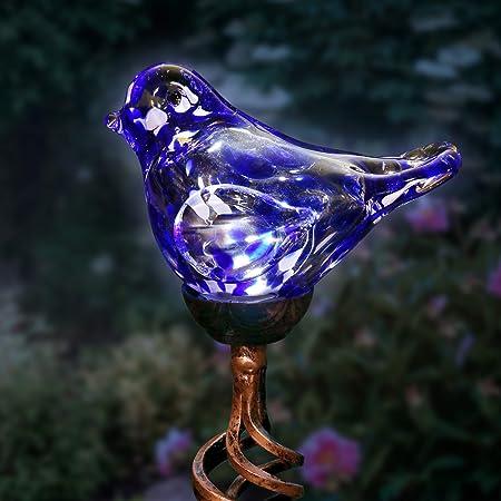 Amazon Com Exhart Solar Blue Hand Blown Glass Bird Yard Stakes