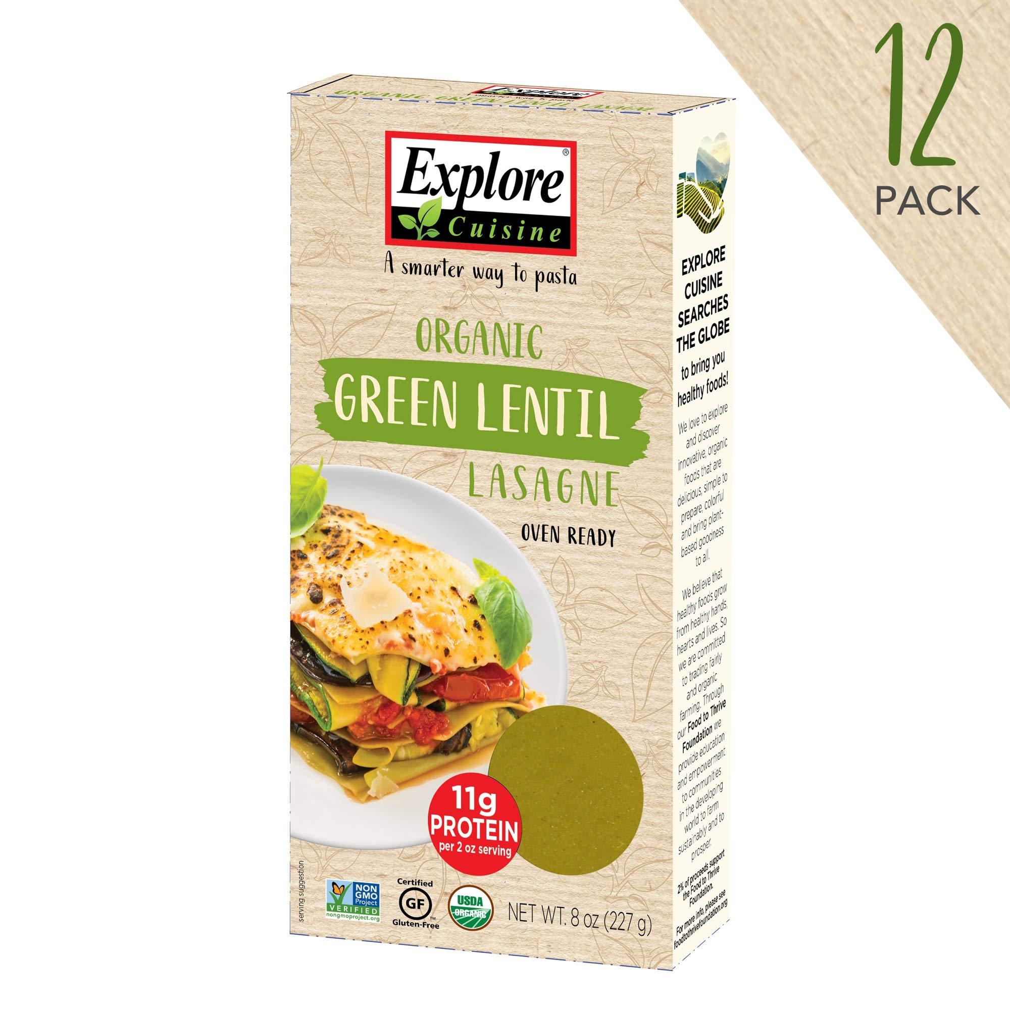 Explore Cuisine Organic Green Lentil Lasagne (12 Pack) - 8 oz - High Protein, Gluten Free Pasta, Easy to Make - USDA Certified Organic, Vegan, Kosher, Non GMO - 48 Total Servings by EXPLORE CUISINE