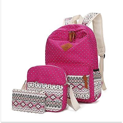 Tincon-Z Geometry Polka Dots Casual Canvas Bagpacks, Cute Lightweight Canvas Laptop Bag Shoulder Bag School Backpack (rose red)