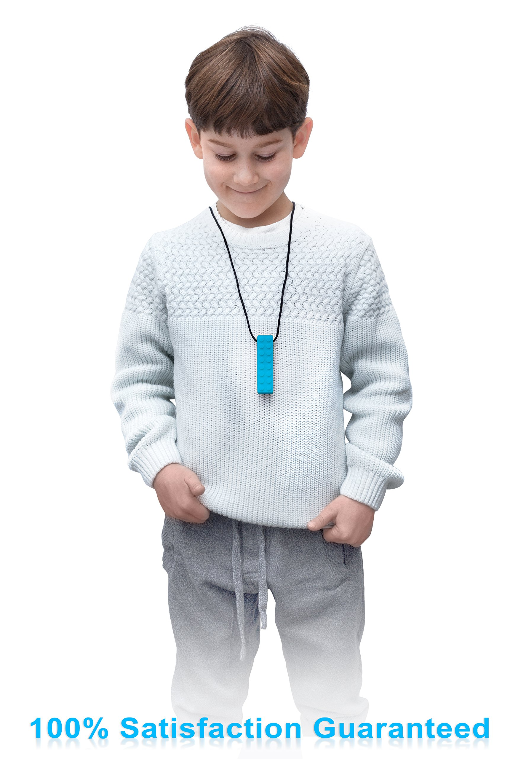 Sensory Necklace (2 PACK + FREE PENCIL TOPPER) - Chewy Necklace - Sensory Chewelry for Kids with Autism ADHD Biting Needs - Chew Toy for Boys and Girls - MORE FIRM by Optimum (Image #5)