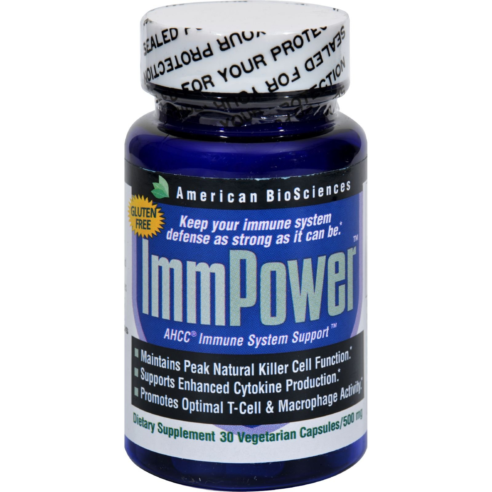 4 Pack of American Bio-Sciences ImmPower AHCC - Gluten Free - 500 mg - 30 Capsules