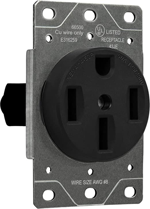 Amazon Com Enerlites 50 Amp Range Receptacle Outlet For Rv And Electric Vehicles Nema 14 50r 3 Pole 4 Wire 8 6 4 Awg Copper Only 125 250v 66500 Bk Black Home Improvement