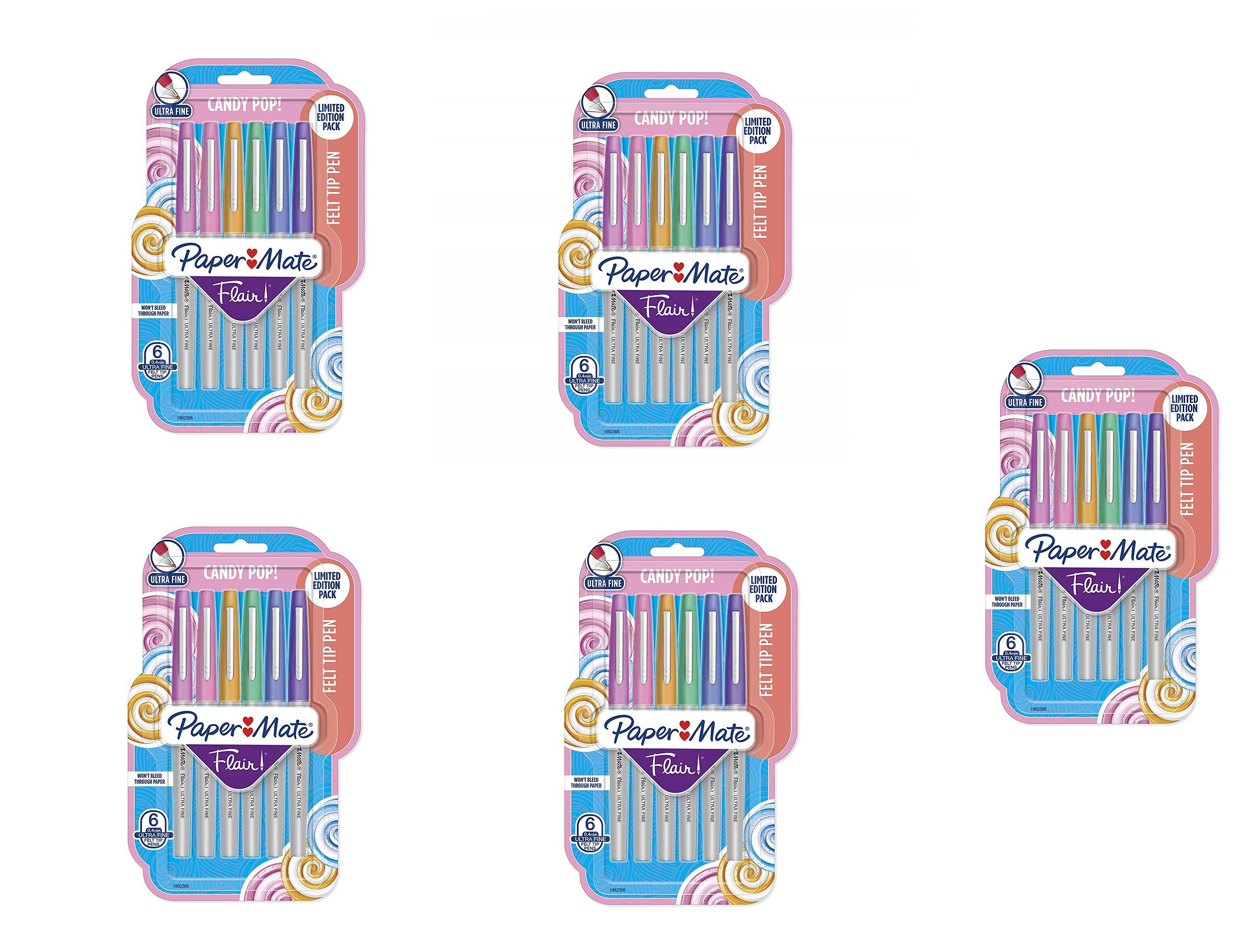 Flair Felt Tip Pens, Ultra Fine Point (0.4mm), Limited Edition Candy Pop Pack, 6 Count