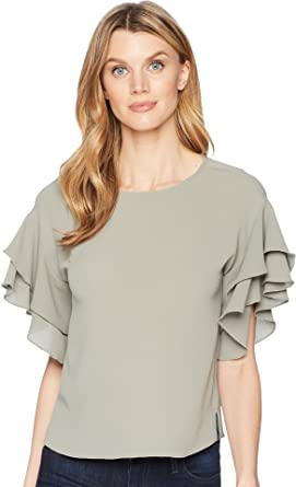 6cb7e0225fc0bb VINCE CAMUTO Womens Drop Shoulder Tiered Sleeve Textured Blouse Camo Green  XL One Size