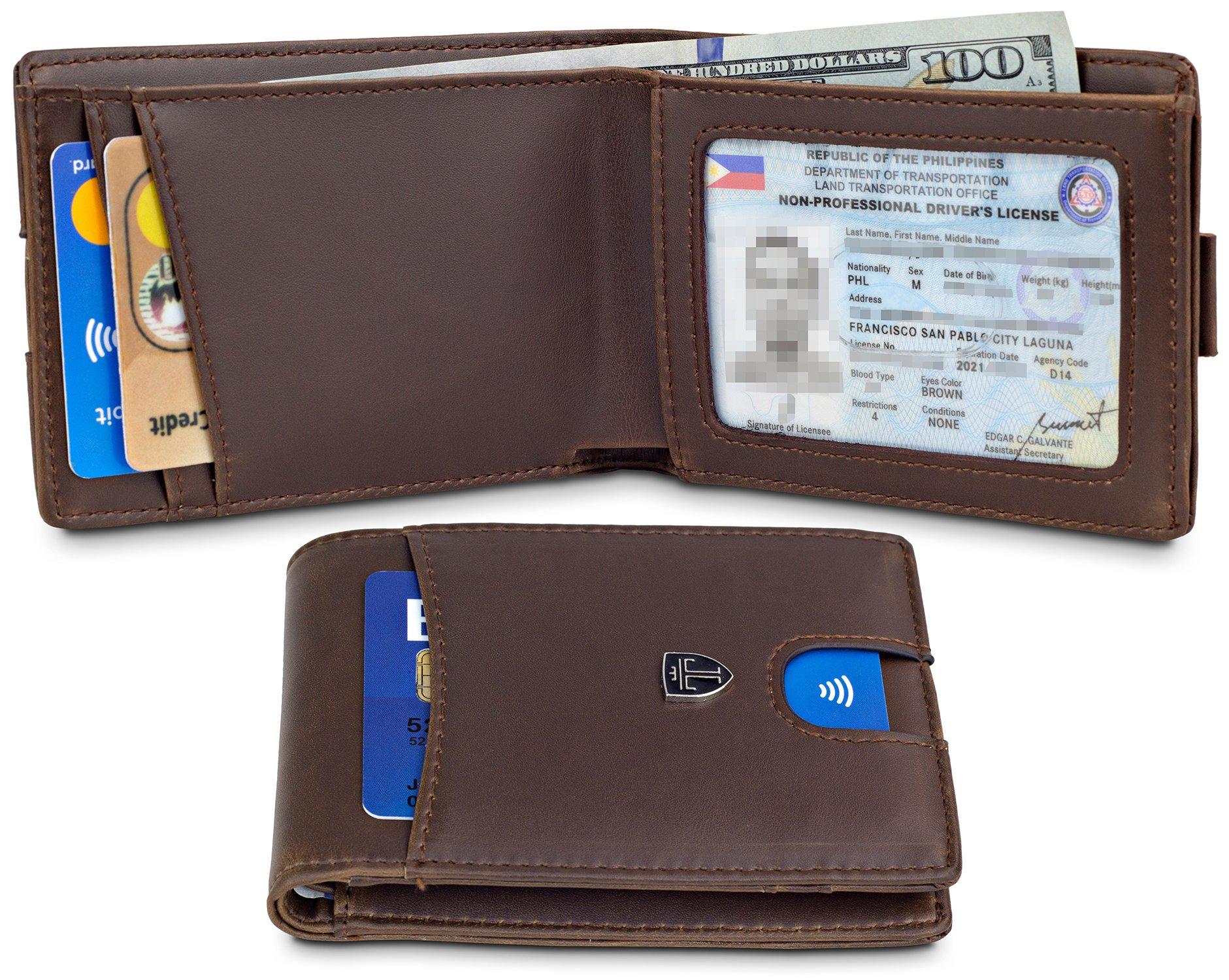"TRAVANDO Slim Wallet for Men ""DENVER"" – RFID Blocking – Quick-Pull Strap – Bill Compartment – Vintage Design – ID Window - Front Pocket Minimalist"