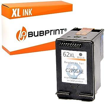 Bubprint Cartucho impresión Compatible con HP 62XL 62xl Negro ...
