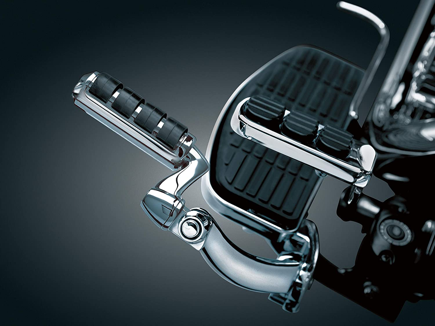 Small Chrome 1 Pair Kuryakyn 8000 Motorcycle Footpegs: Premium ISO Pegs with Male Mount Adapters