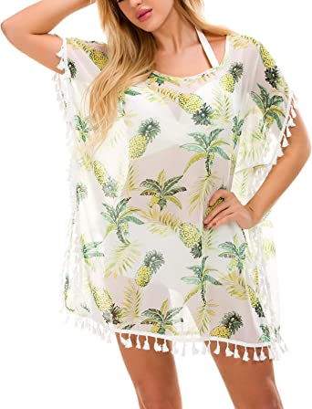 Beach Dress Bathing Suit Cover Up Floral Print Swimsuits Bikini Summer Holiday Beach Wear Cover Up Swimwear Suitable for Outdoor Beach Walks Color : Green, Size : One Size