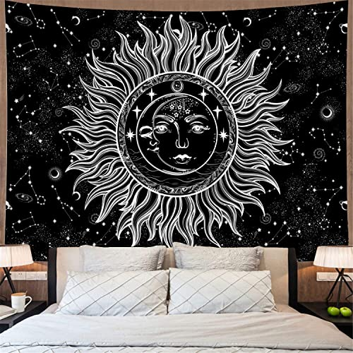 Sun and Moon Tapestry Psychedelic Burning Sun with Stars Wall Tapestry Black and White Celestial Tapestry Mystic Fractal Faces Tapestry Wall Hanging for Bedroom X-Large, Sun Moon