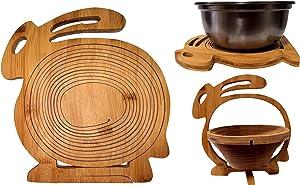 11X10.6 Inches Folding Fruit Basket-Natural Bamboo Handle Baskets Pastoral Style Household Foldable Handmade Storage Basket Towels/Fruits (Rabbit Shaped)